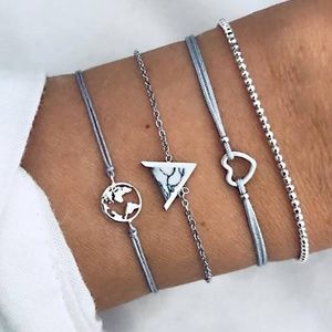 Jewelry - Gray Set of 4 Stackable Bracelets